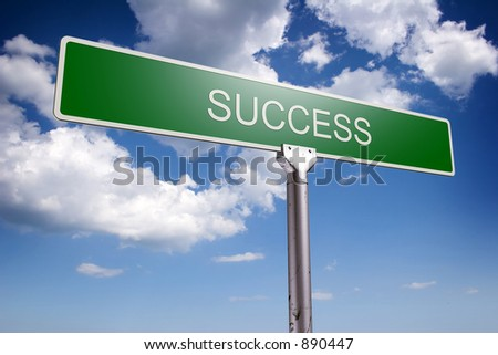 Photorealistic 3D sky-high success street sign