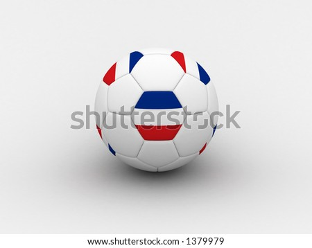 Photorealistic 3D soccer ball isolated on white background in national Serbia & Montenegro colors - stock photo