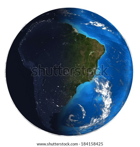 Photorealistic Earth. Day and night. Elements of this image are furnished by NASA