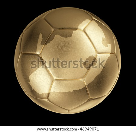 Photorealistic golden soccer ball with shape of South Africa