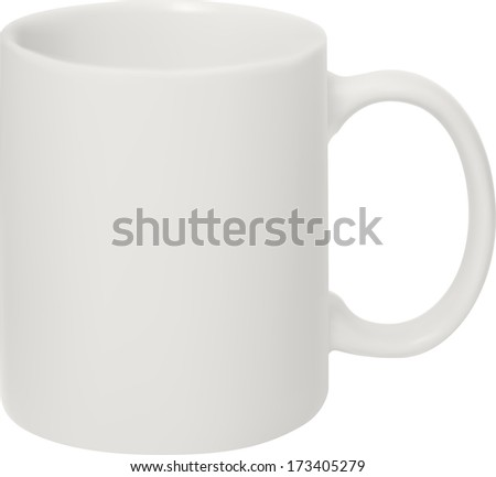 photorealistic white cup - stock photo