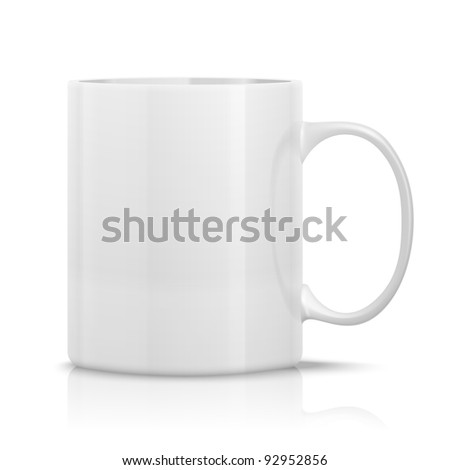 photorealistic white cup for logos and graphics - stock photo