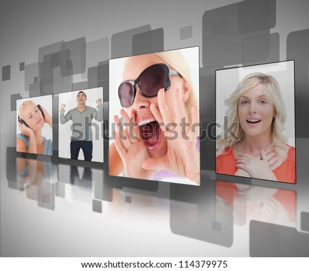 Photos displayed on digital black and grey wall