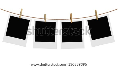 photos hanging on a rope attached clip