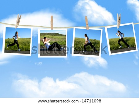 Photos of a woman exercising on a clothes line - stock photo
