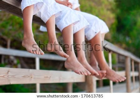 Photos of bare feet,, outdoor - stock photo