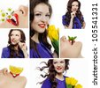 Photos of beautiful girl with tulips, mint, lemon and chamomile. collage - stock photo