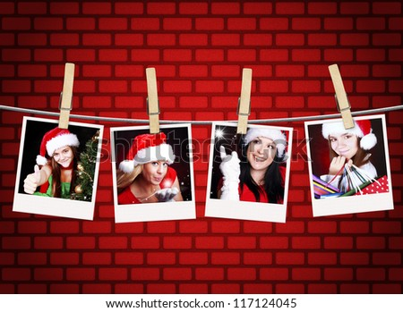 photos of christmas girls hanging on clothesline with brick wall background
