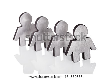 Photos of family figures isolated on white background - stock photo