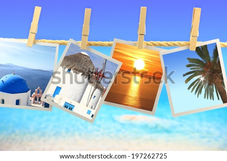 Photos of Greece hanging on a rope in front of the sea - stock photo
