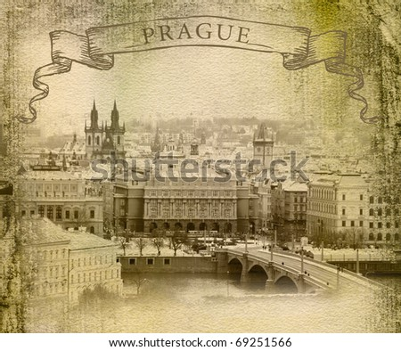 Photos of Prague, the style of old picture