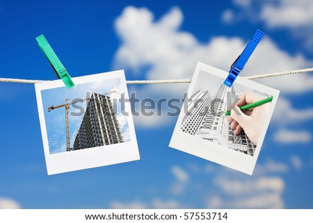 Photos of the drawings and planning construction skyline