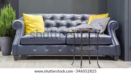Photos of the sofa with home decor - stock photo