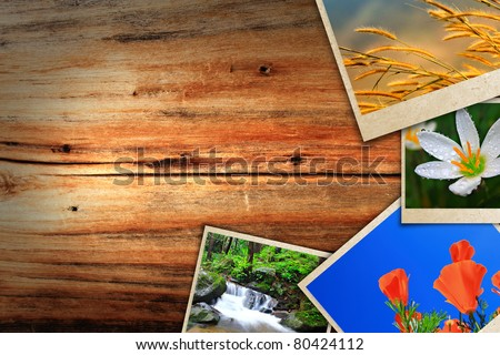 Photos on the wood desk
