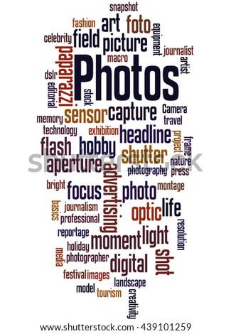 Photos, word cloud concept on white background. - stock photo