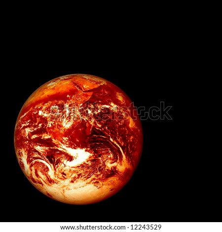 photoshopped image (based on a Nasa public domain image) of a red hot glowing, burning earth, global warming concept - stock photo