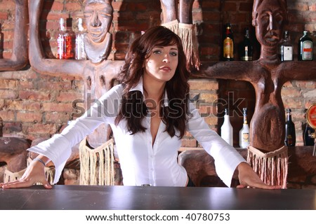 Photoshot of beautiful barmaid waiting order - stock photo