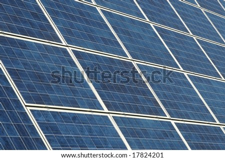 Photovoltaic cells in a solar panel - stock photo