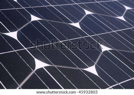 Photovoltaic cells in a solar panel - perspective view - stock photo