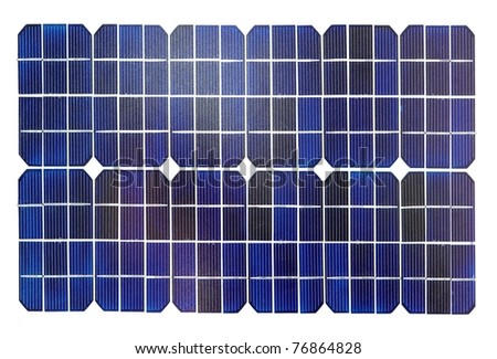 Photovoltaic cells of a solar panel isolated on white. - stock photo