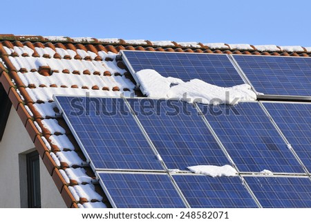 Photovoltaic modules with snow in winter. - stock photo