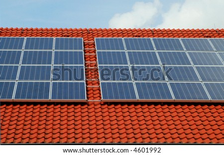 Photovoltaic on a roof - stock photo