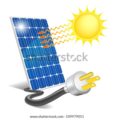 Photovoltaic panel exposed to sunlight - stock photo