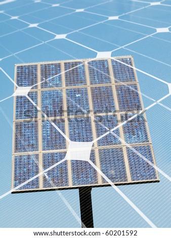 Photovoltaic panel  montage - stock photo