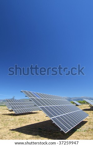 photovoltaic panel with blue sky