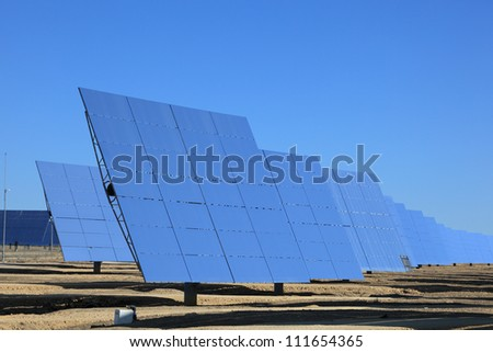 Photovoltaic panels at a Solar Power Station - stock photo