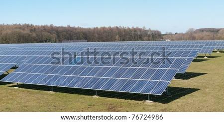 Photovoltaic panels field - stock photo