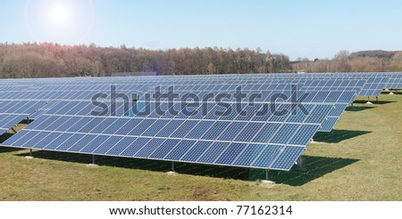 Photovoltaic panels field - stock photo