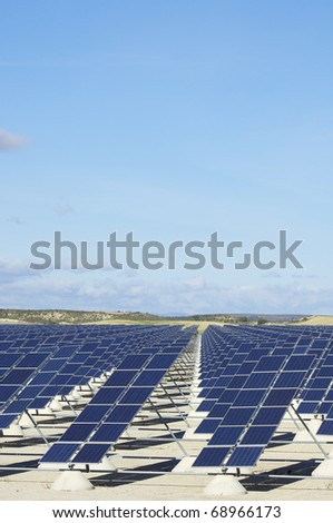photovoltaic panels for renewable electric energy production - stock photo