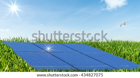 Photovoltaic panels in a photovoltaic park  - stock photo