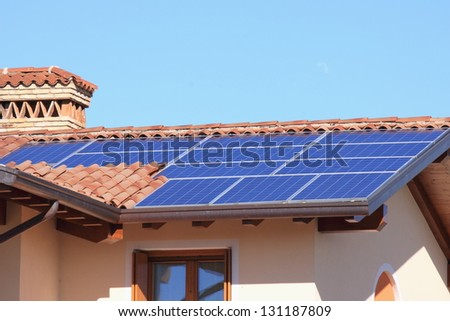 Photovoltaic panels - Solar energy - stock photo