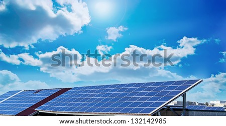 photovoltaic panels under a sunny sky