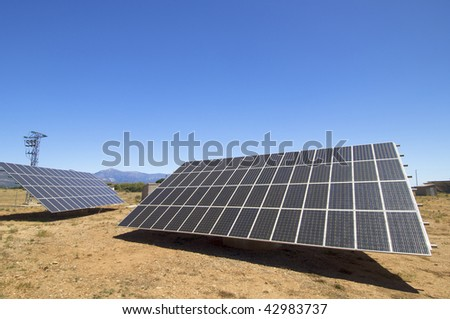 photovoltaic panels with blue sky