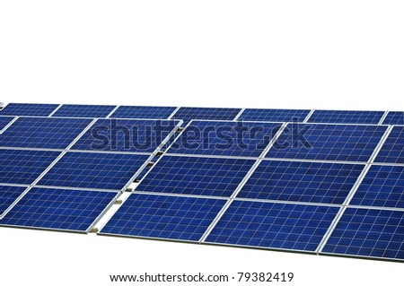 Photovoltaic power, solar panel isolated in white, sun energy