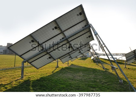 photovoltaic power station installation panel collector - stock photo