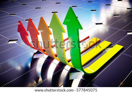 Photovoltaic savings. 3D computer generated image. - stock photo