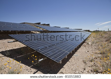 Photovoltaic solar panels at Red Rock Canyon National Conservation area park in Southern Nevada, USA.