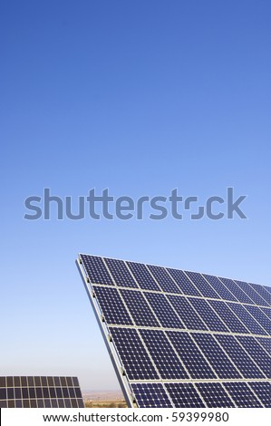 photovoltaic solar panels for renewable electric energy production - stock photo