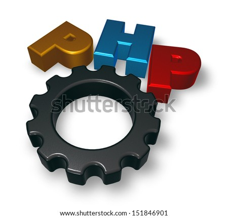 php tag and cogwheel on blue squared surface - 3d illustration