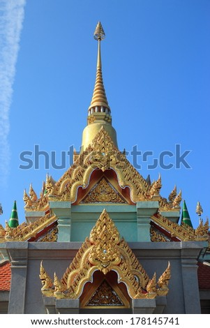 Phra Maha Chedi of Thailand with blue sky in prachubkirikhan province
