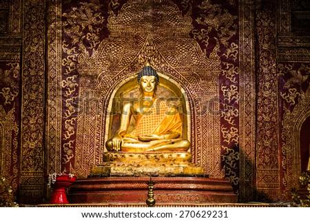 Phra Phuttha Sihing Buddha at Phra Sing Waramahavihan Temple, Thailand. - stock photo