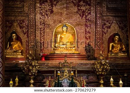Phra Phuttha Sihing Buddha at Phra Sing Waramahavihan Temple, Thailand - stock photo
