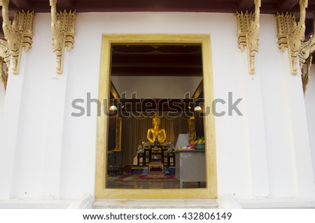 Phra Phutthanirarokhantarai Chaiyawat Chaturathit statue is the four Buddha images built under the ancient belief of the town since Ayutthaya period at City Pillar Shrine of Phatthalung, Thailand - stock photo