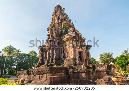 Phra That Narai Cheng Weng,The sandstone pagoda is on a laterite base. Ornate designs adorn the lintel, doorway and windows. - stock photo