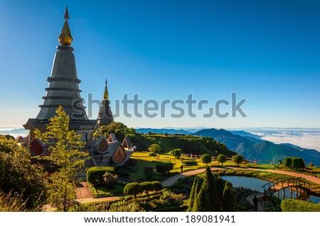 Phramahathat Napamathanidol & Phramahathat Napaphol Bhumisiri in Chiang Mai from Thailand - stock photo