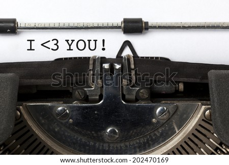 Phrase I love you written with vintage typewriter